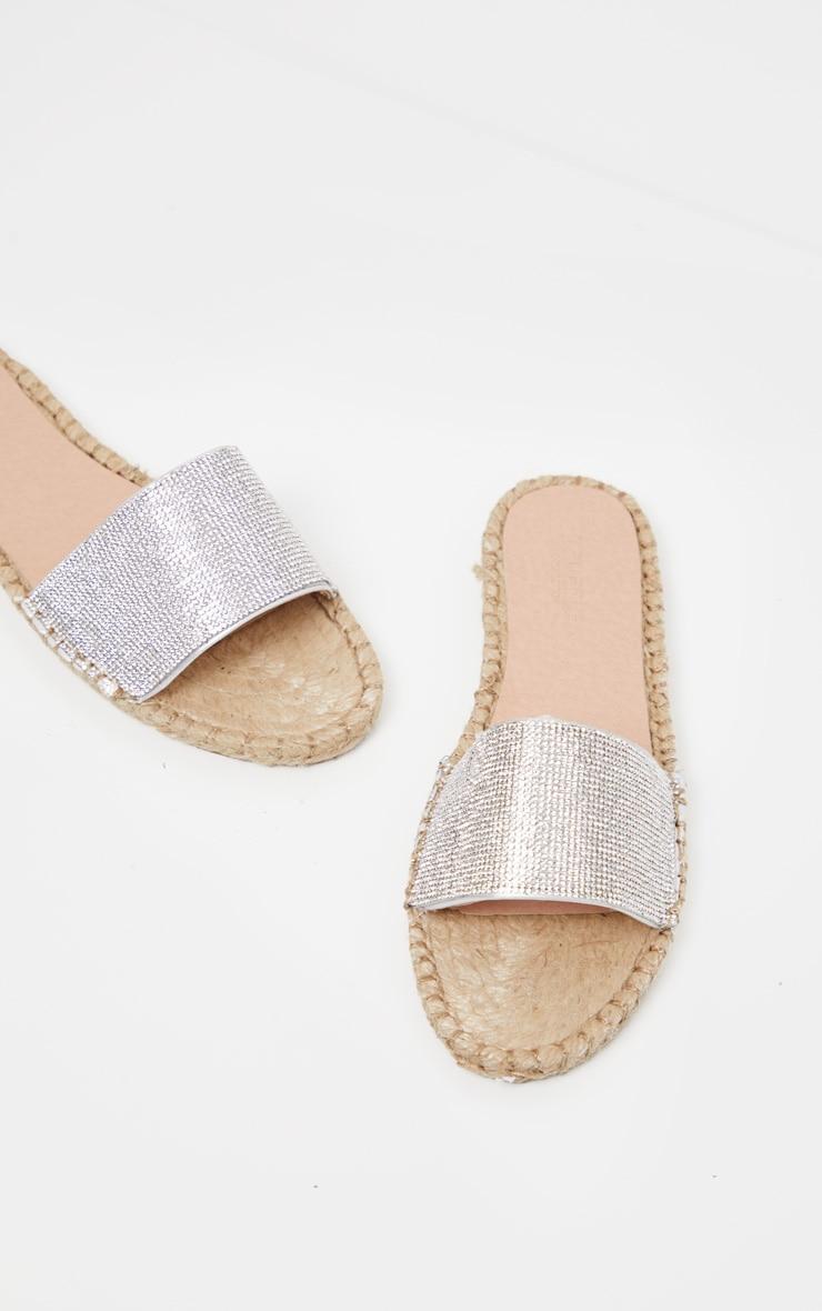 Silver Diamante Espadrille Sandal  1