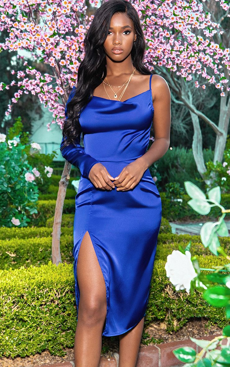 Cobalt Satin Cowl Neck Extreme Split Midi Dress 1