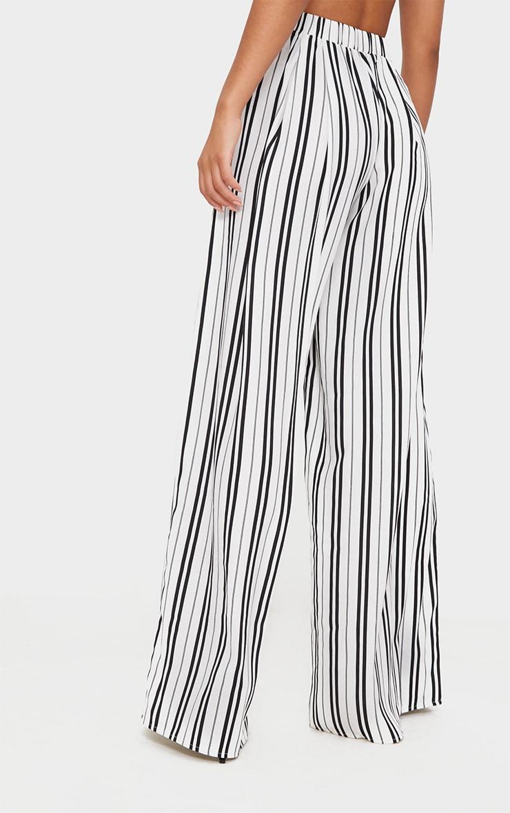 White Formal Stripe Wide Leg Trouser  4