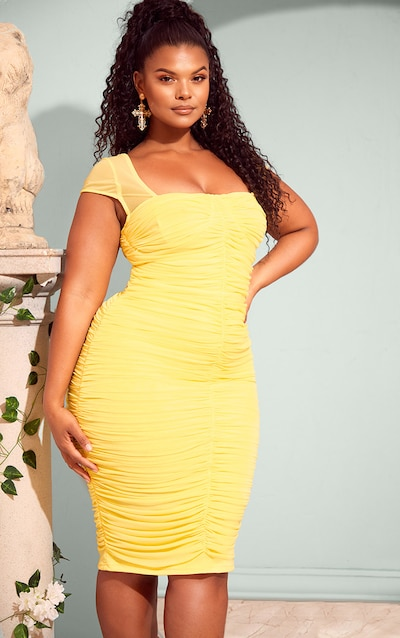 b783c3e6dcf Plus Lemon Mesh Ruched Midi Dress