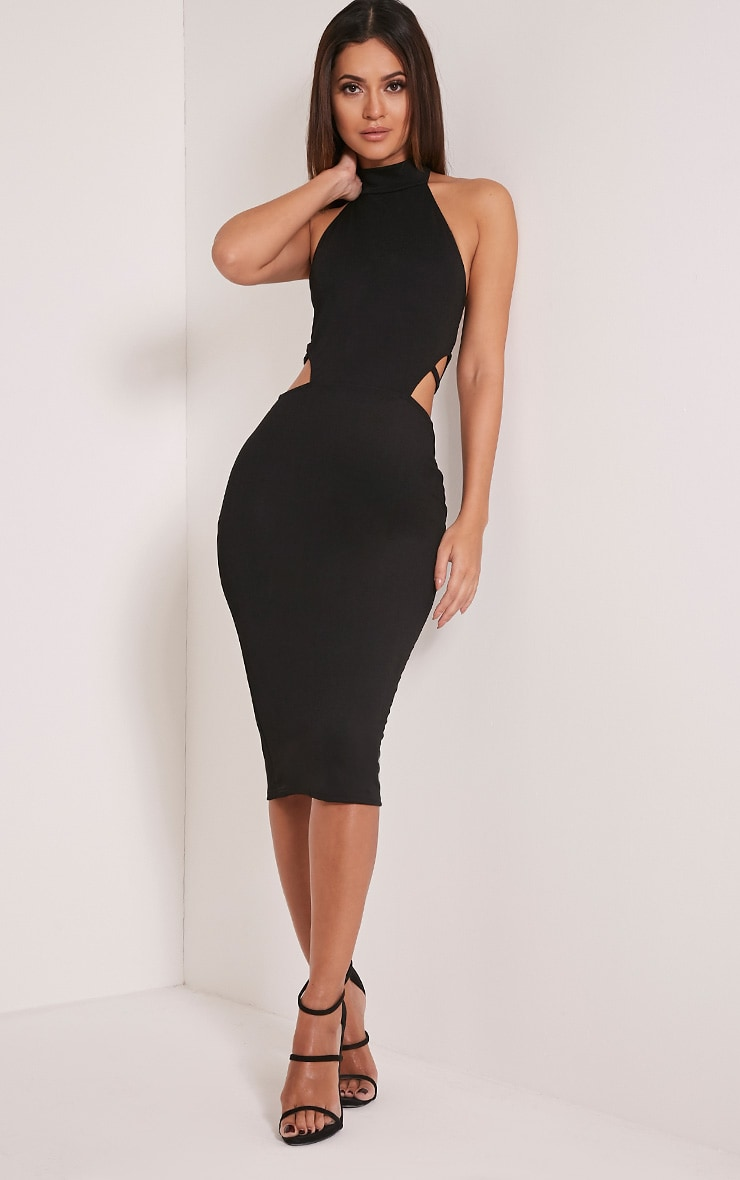 Shae Black High Neck Backless Bodycon Dress 1
