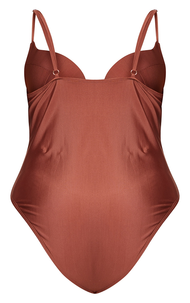 Plus Chocolate Brown Cup Detail Swimsuit 6