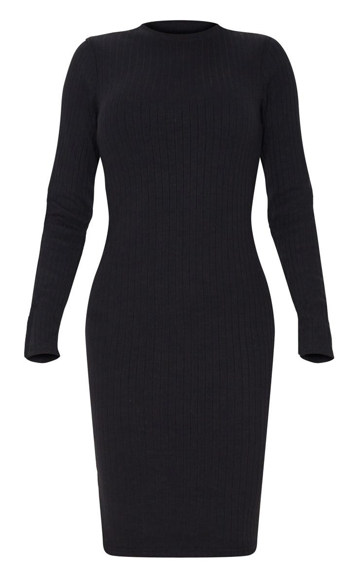 Tall Black Knitted Long Sleeve Midi Dress 3
