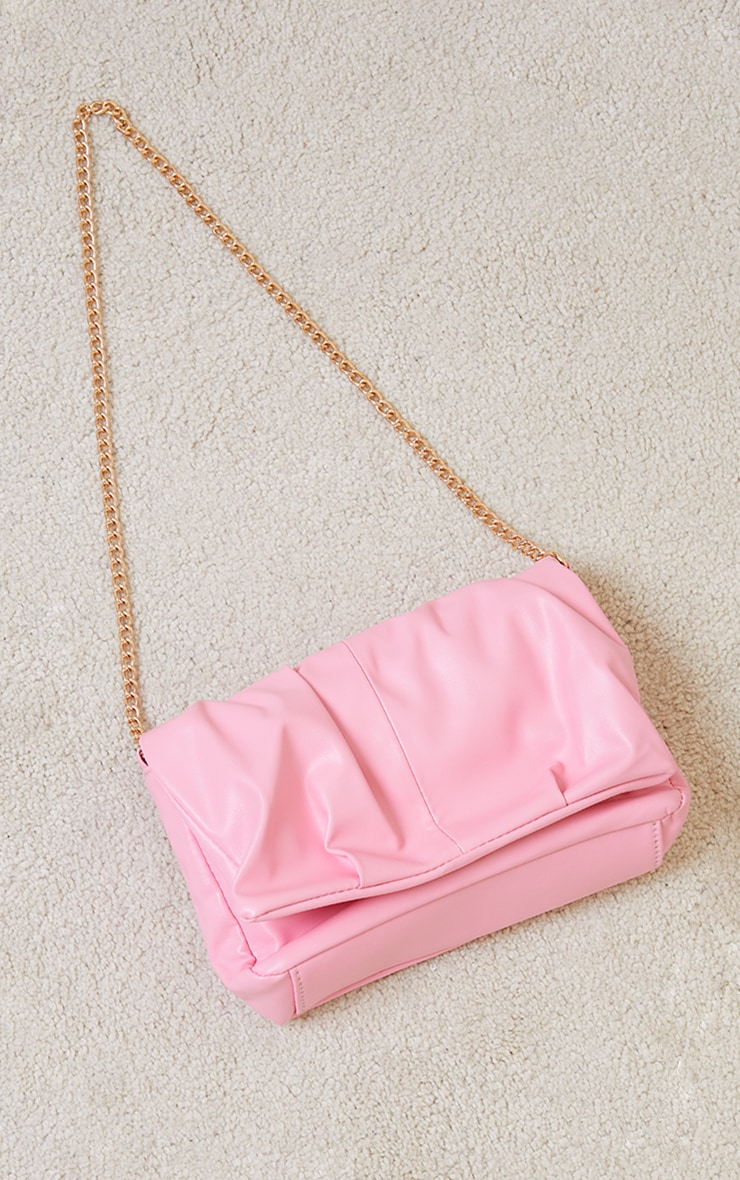 Pink Ruched Cross Body Bag 2