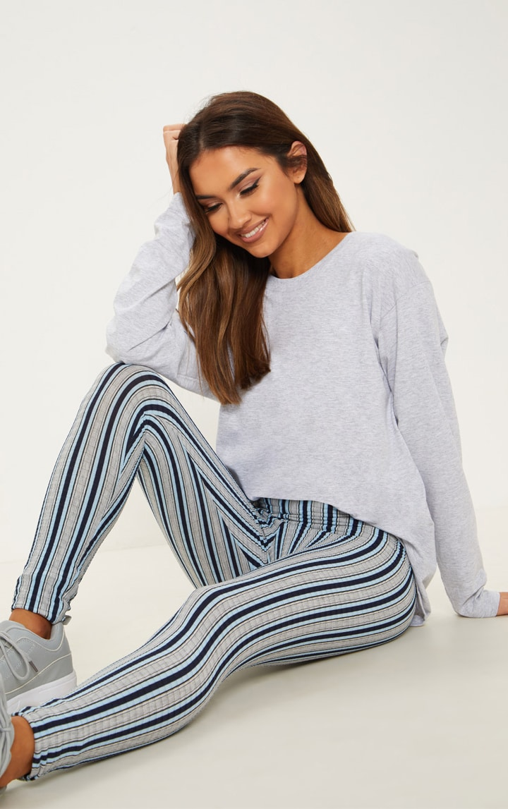 Navy Rib Mix Stripe Legging