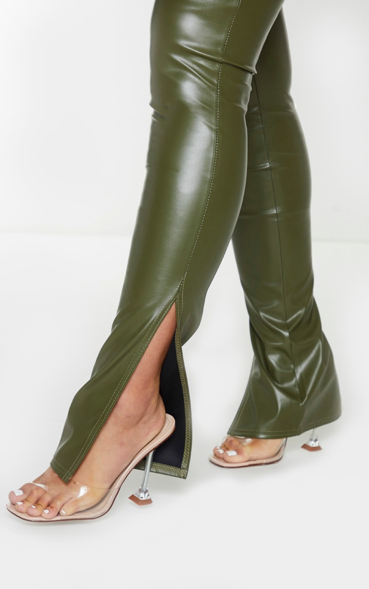 Khaki Faux Leather Split Hem Leggings 4
