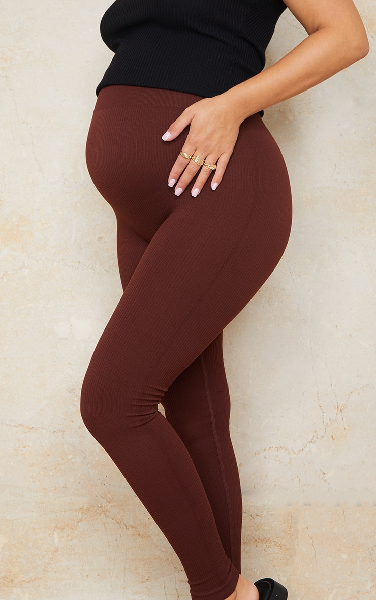 Maternity Dark Brown Contour Bump Support Ribbed Leggings 4