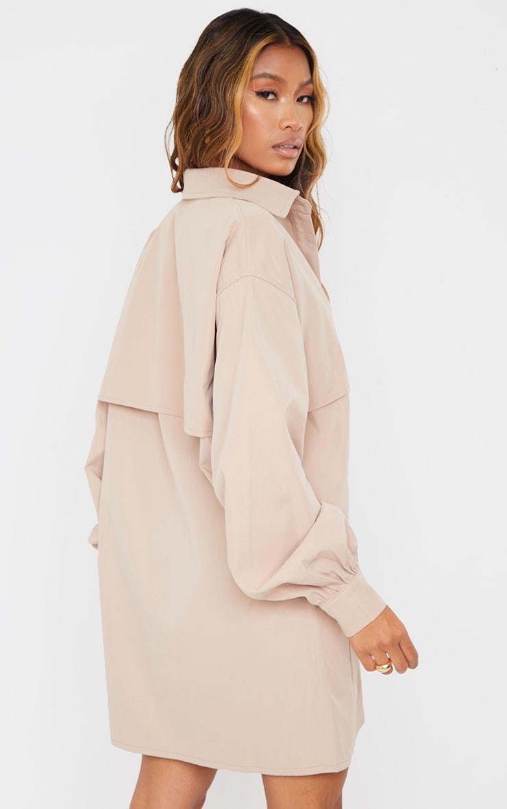 Stone Woven Overlay Pocket Detail Shirt Dress 2