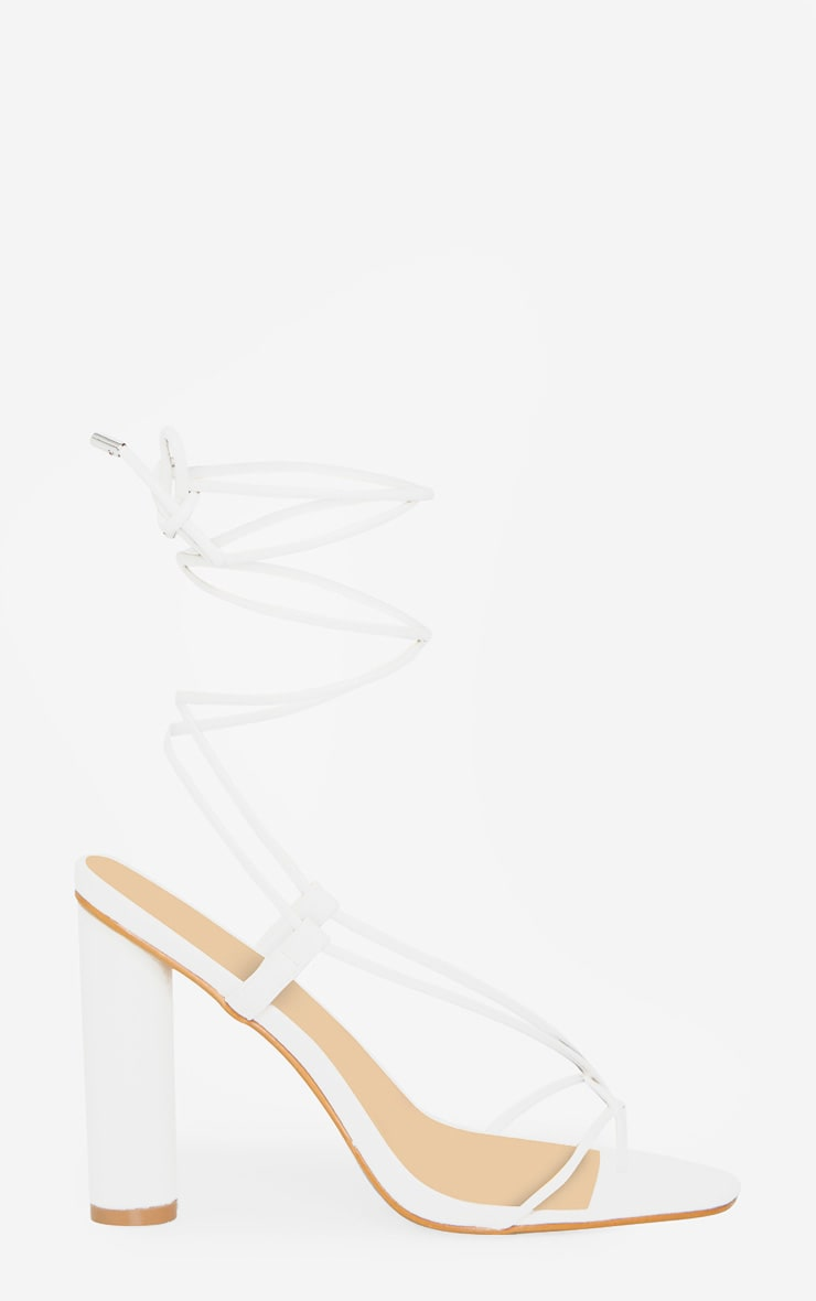 White Cylinder Strappy Toe Thong Heeled Sandals 3