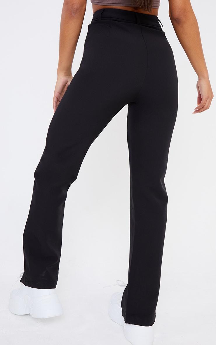 Black Woven Straight Leg Split Hem Trousers 3