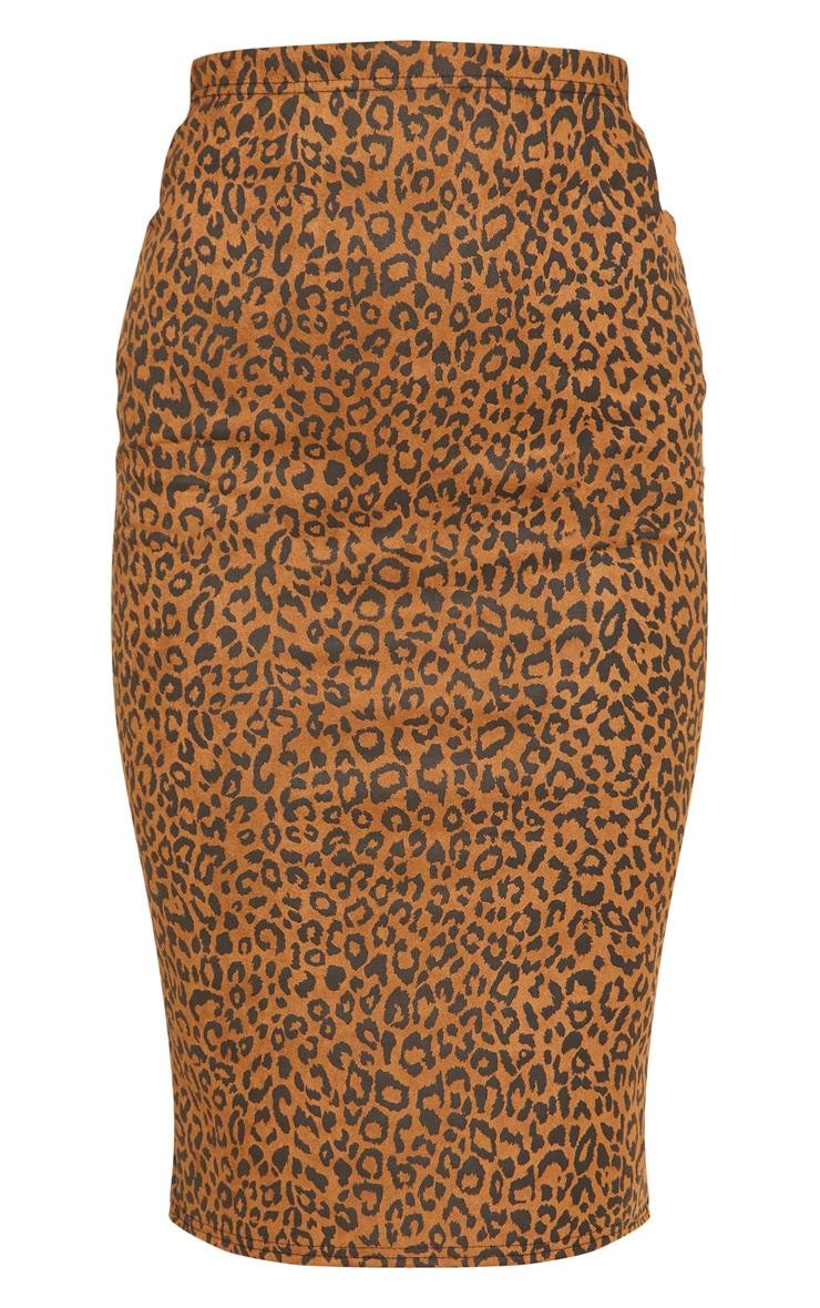 Camel Leopard Print Faux Suede Midi Skirt 3