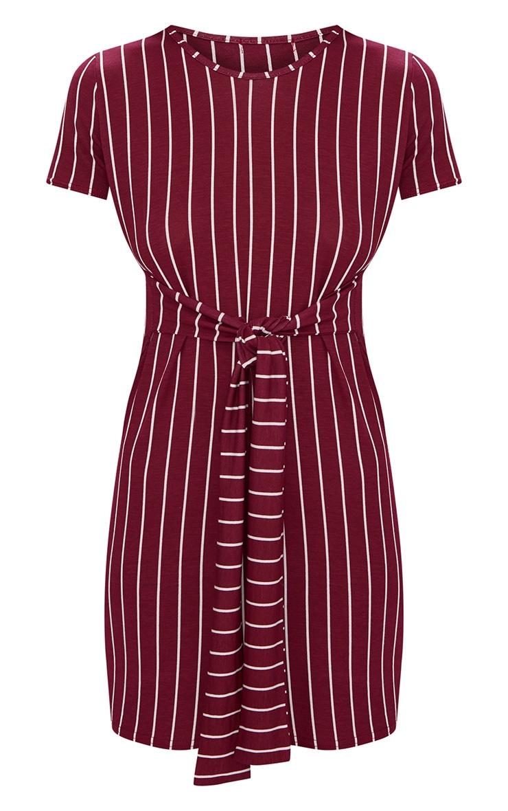 Burgundy Stripe Tie Waist T Shirt Dress 3