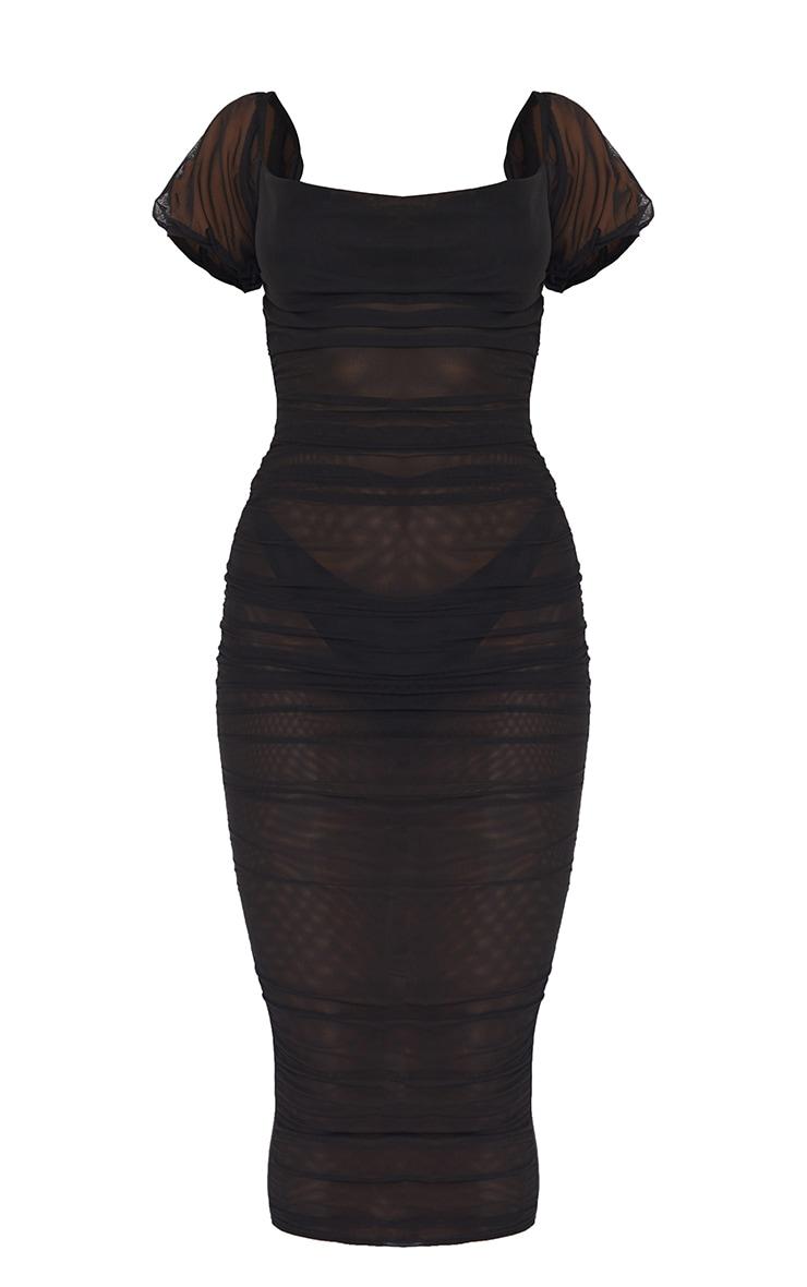 Black Mesh Cowl Halterneck Tie Detail Midaxi Dress 6