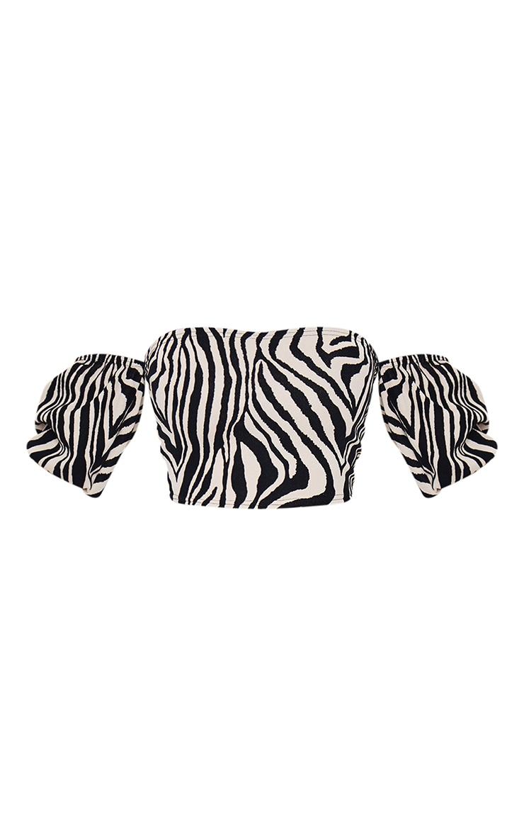 Tan Zebra Flocking Print Bardot Top 5