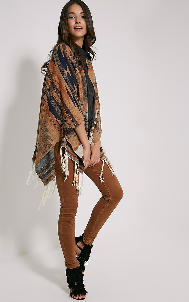 Deni Beige Tribal Knitted Tassel Poncho 3