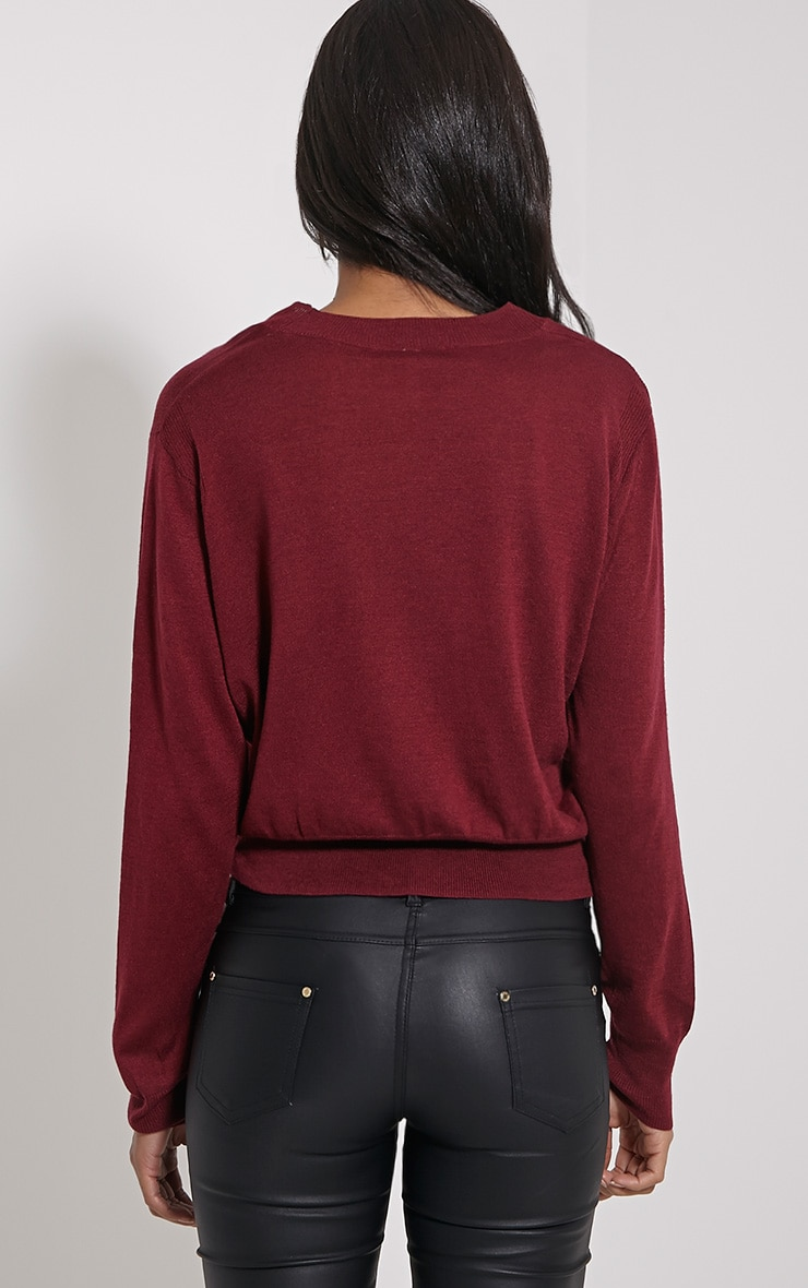 Seina Oxblood Round Neck Fine Knit Jumper 2