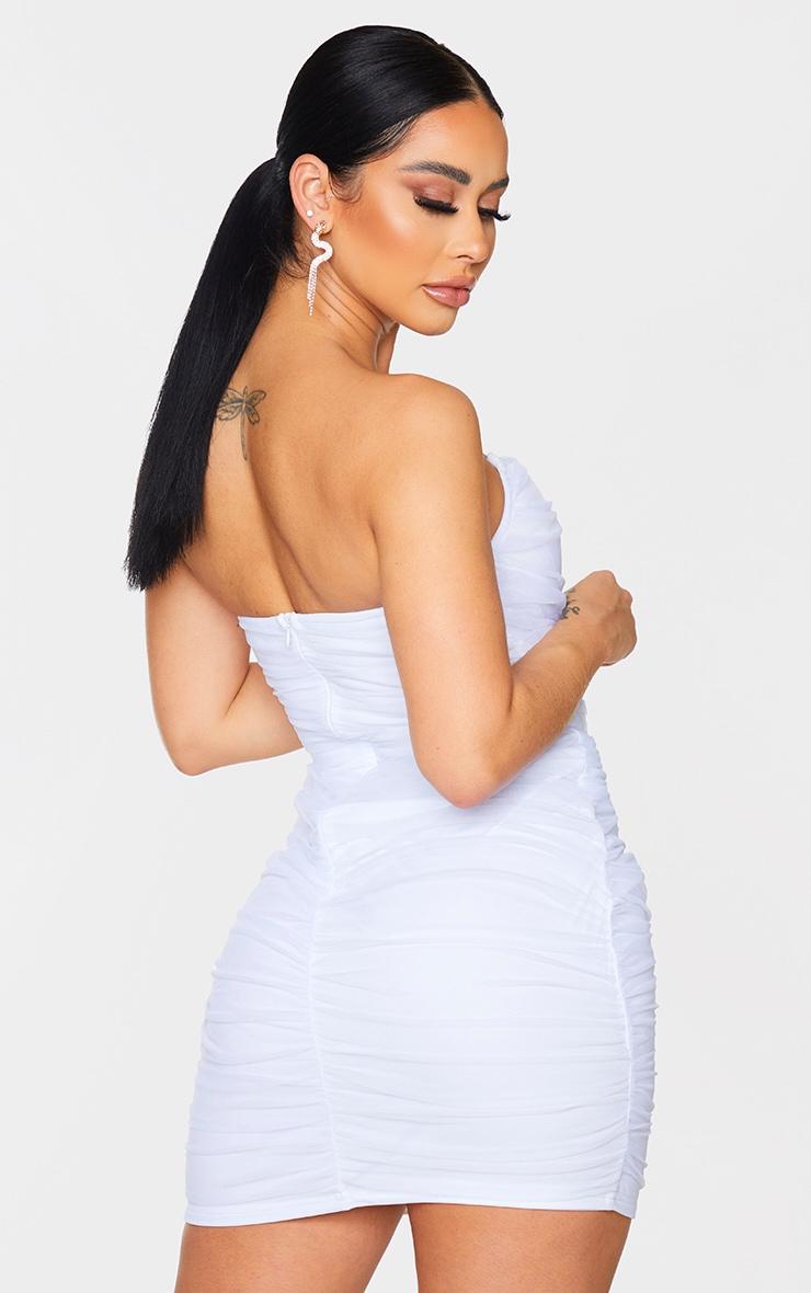 Shape White Mesh Corset Detail Ruched Bodycon Dress 2