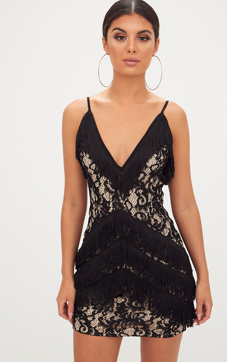 Black Strappy Lace Tassel Detail Bodycon Dress 1