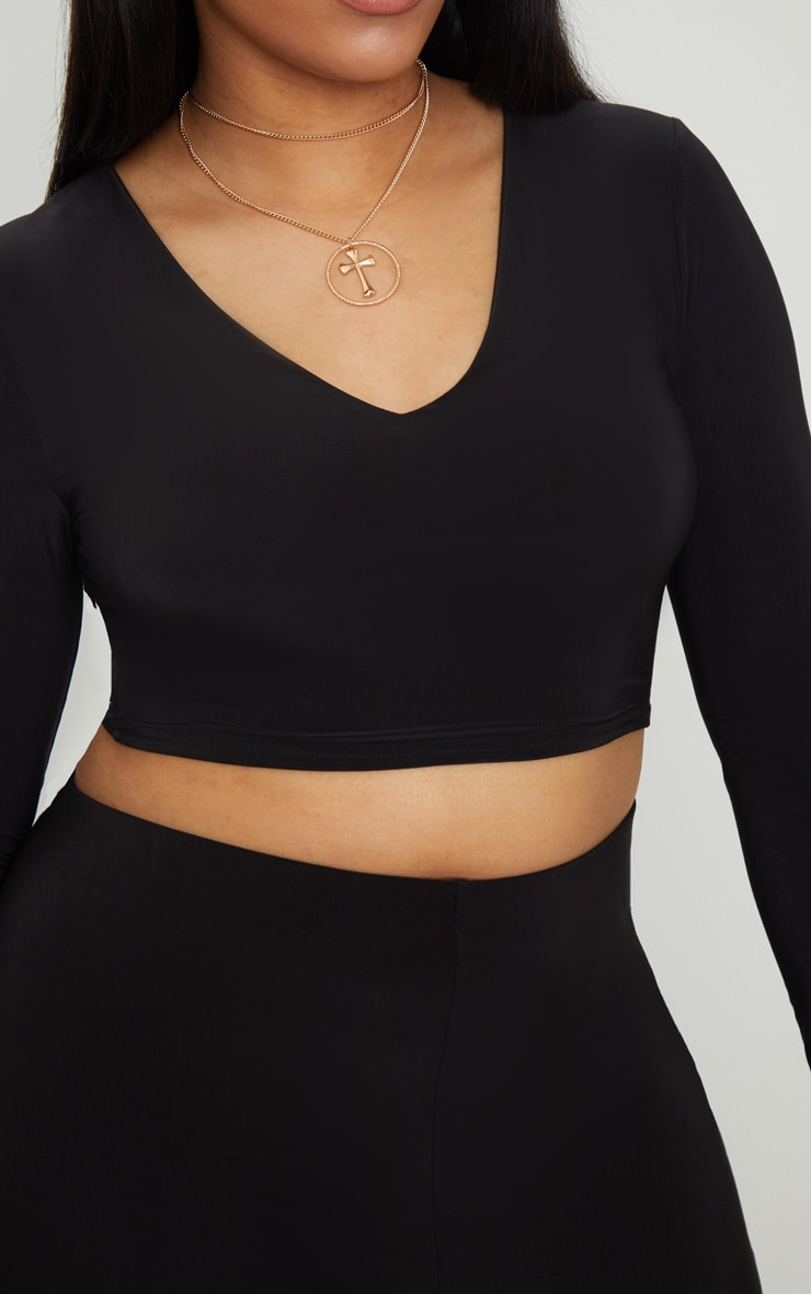 Plus Black Second Skin Long Sleeve V Neck Crop Top 5