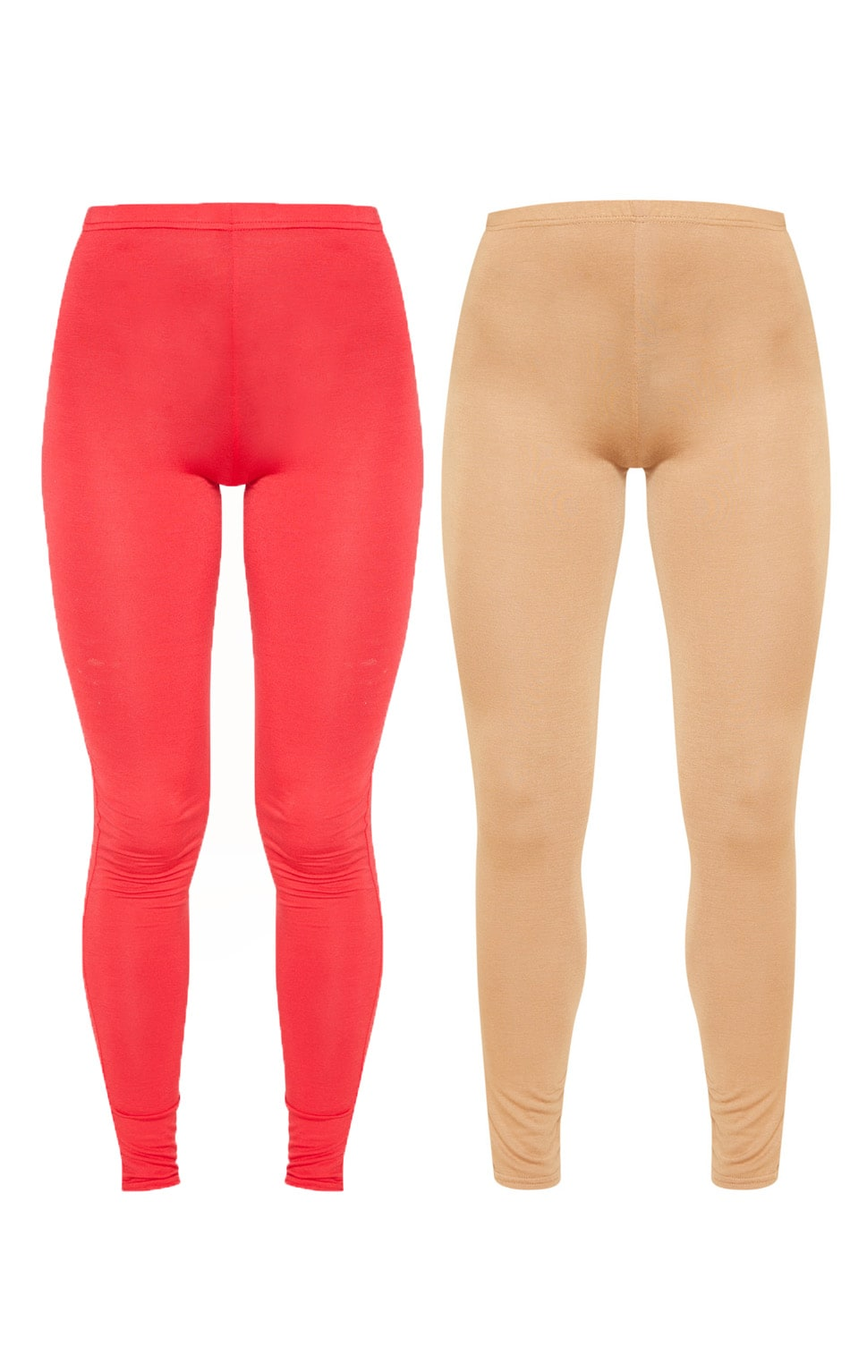 Basic lot de 2 leggings en jersey rouge et camel 3