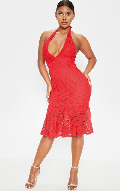 Red Lace Halter Midi Dress