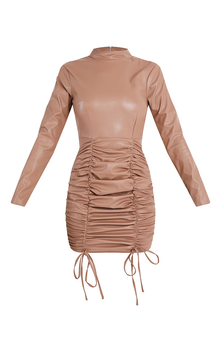 Stone PU High Neck Long Sleeve Ruched Skirt Bodycon Dress 5