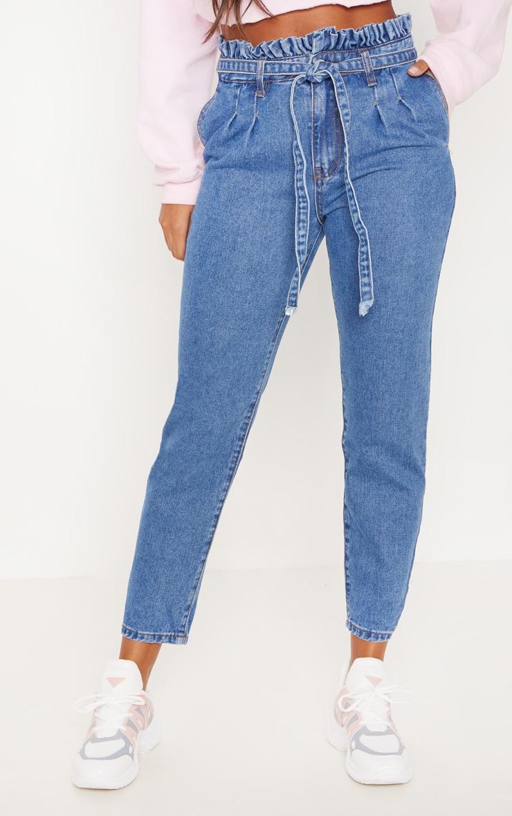 Mid Wash Paperbag Jeans 2