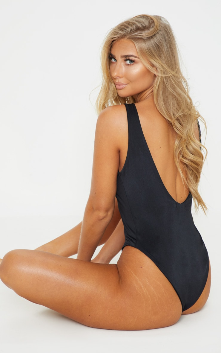 Black Basic High Neck Swimsuit 2