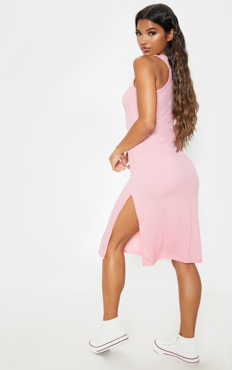Rose Ribbed Scoop Neck Split Midi Dress 2