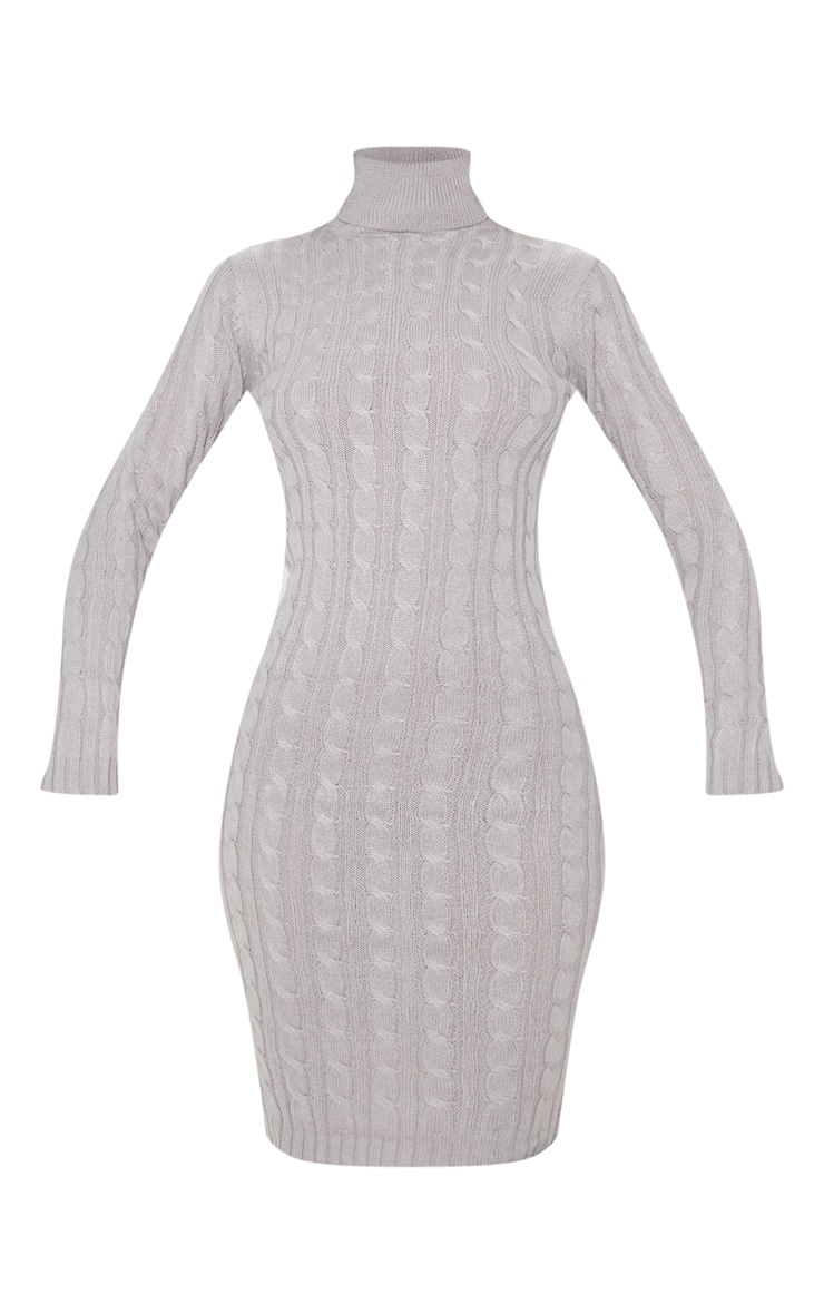 Grey Cable Knit Roll Neck Knitted Midi Dress 3