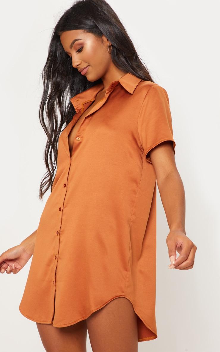 Rust Satin Short Sleeve Shirt Dress