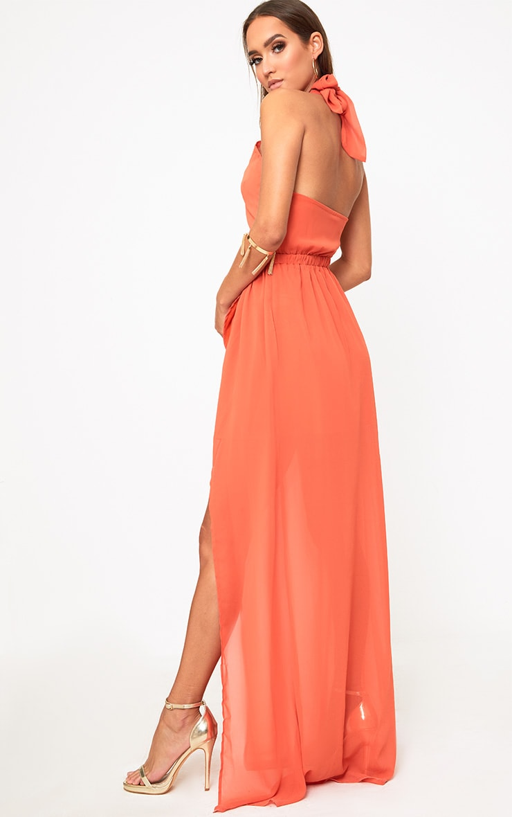 Orange Halterneck Maxi Dress 2