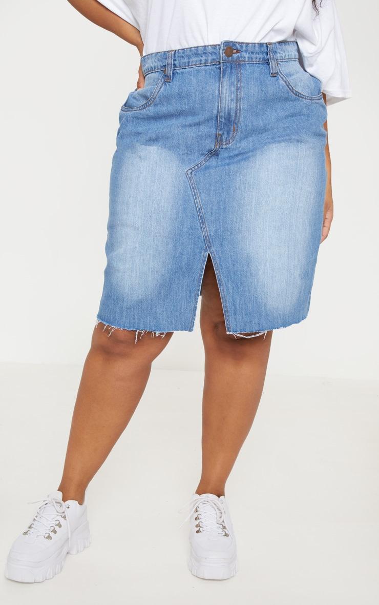 Plus Light Wash Denim Fray Hem Midi Skirt  2