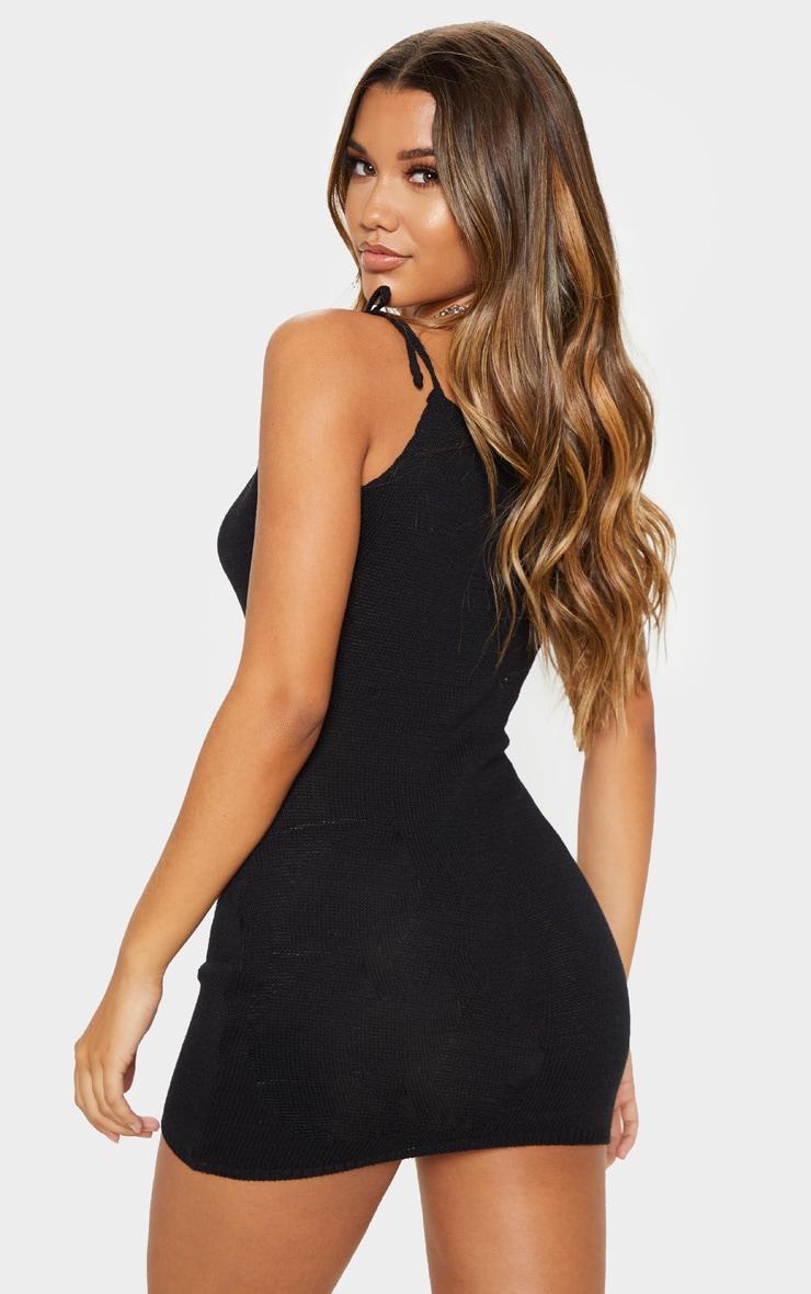 Black Crochet Knitted Dress 2