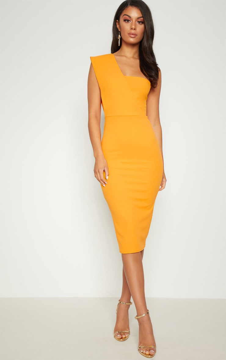 Yellow One Shoulder Draped Midi Dress 1