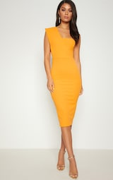 Yellow One Shoulder Draped Midi Dress 1