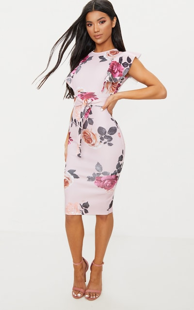 Dusty Pink Floral Print Frill Detail Midi Dress