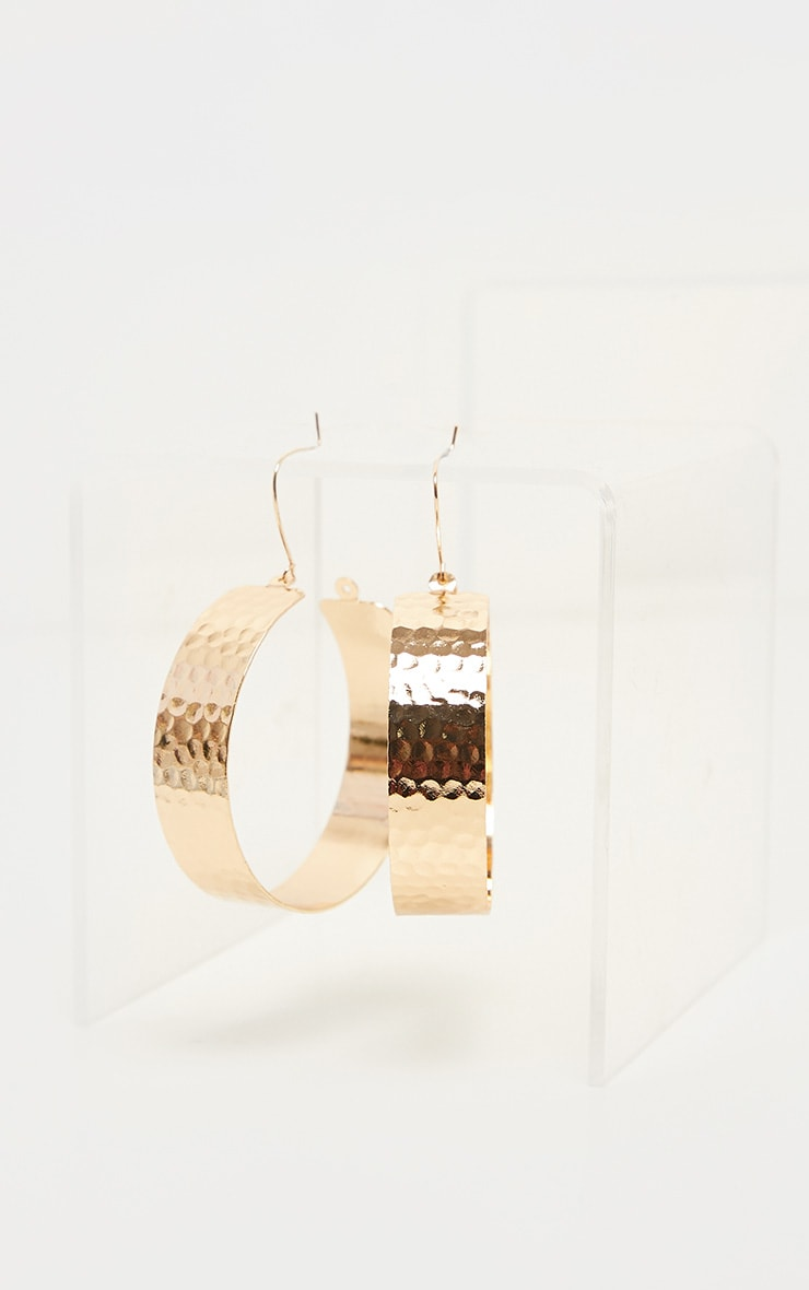 Gold Textured Wide Flat Hoops 2