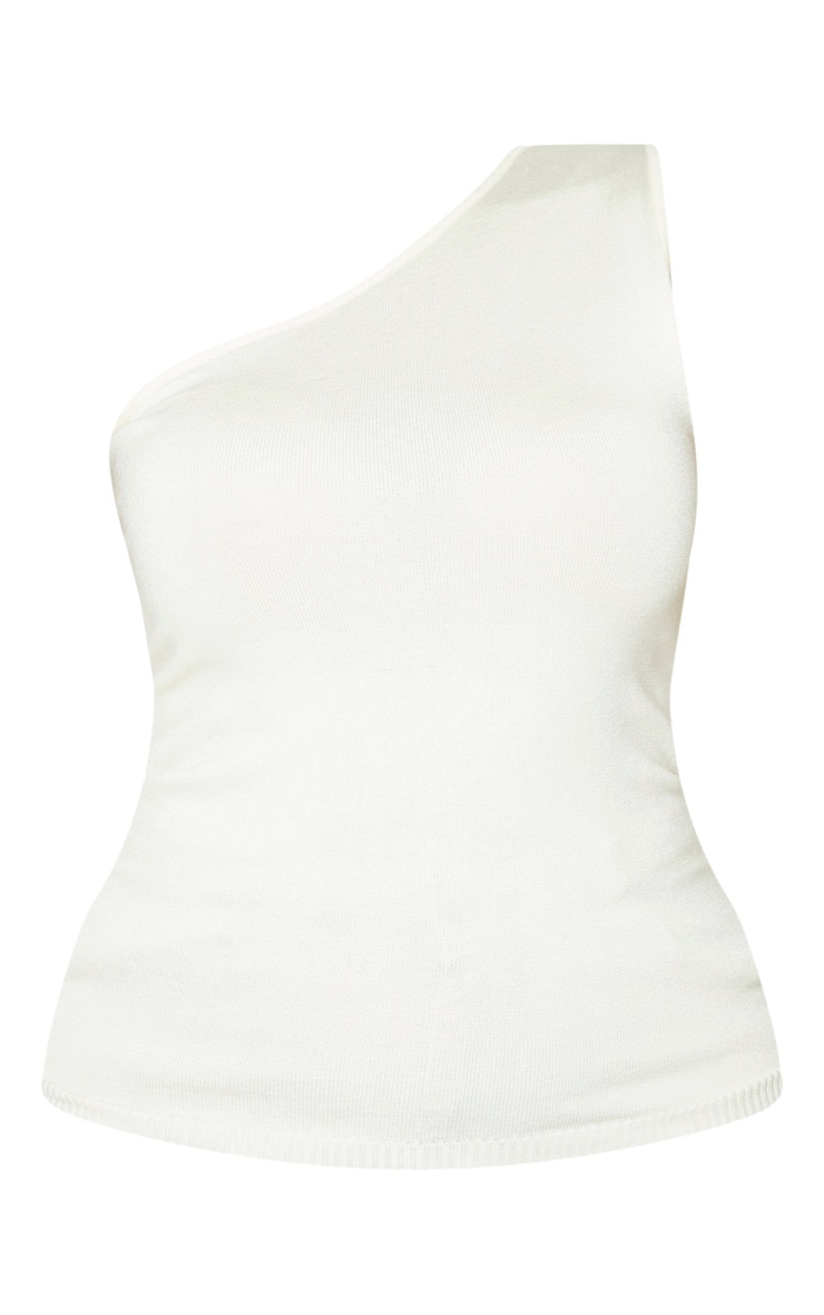 Plus Cream Knitted One Shoulder Top 3