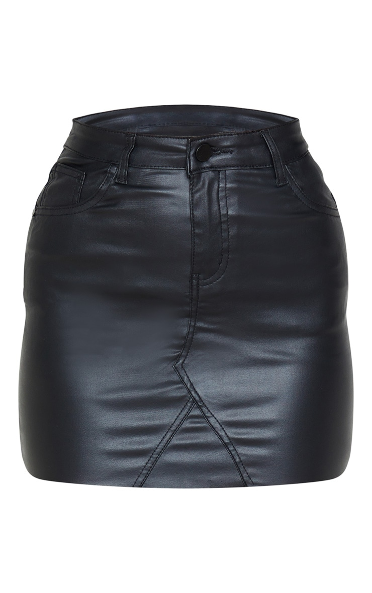 Black Coated Denim Extreme Mini Skirt 3