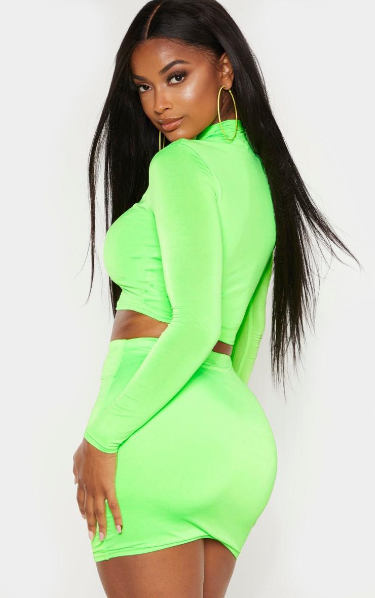 Shape Neon Lime Zip Detail Long Sleeve Crop Top 2