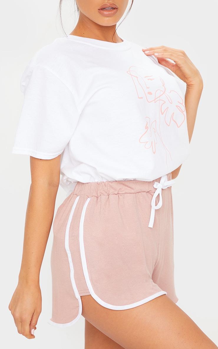 Dusty Pink Double Side Stripe Runner Shorts 5