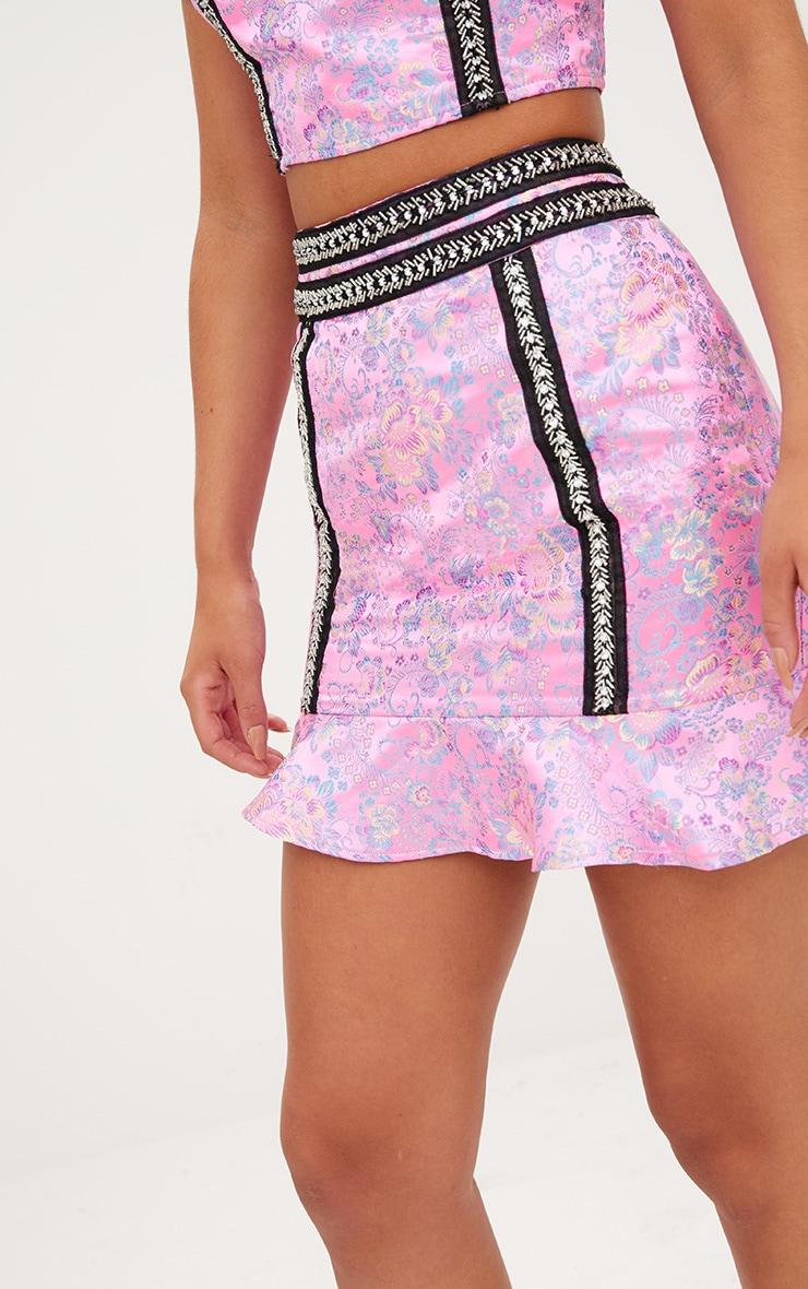 Premium Pink Jacquard Frill Hem Mini Skirt 6
