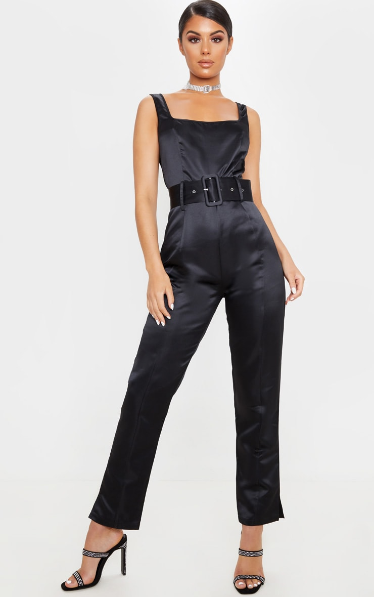 Black Bonded Satin Belt Detail Jumpsuit 1