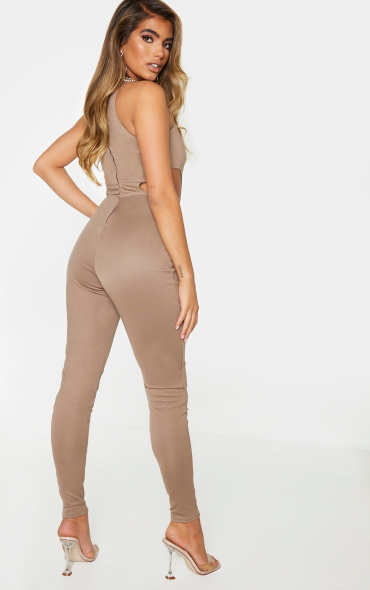 Camel Bandage Cut Out Jumpsuit 2