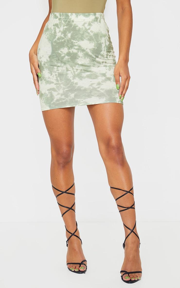 Sage Green Basic Tie Dye Mini Skirt 2