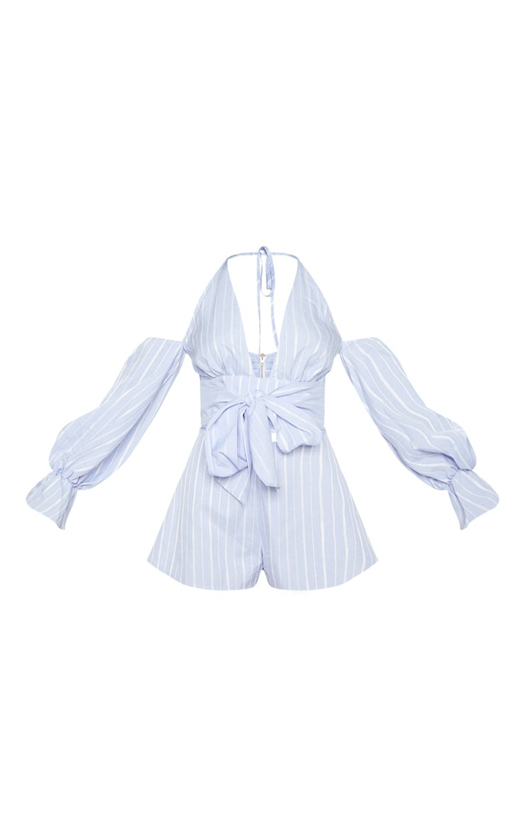 Blue Stripe Halterneck Puff Sleeve Shirt 3