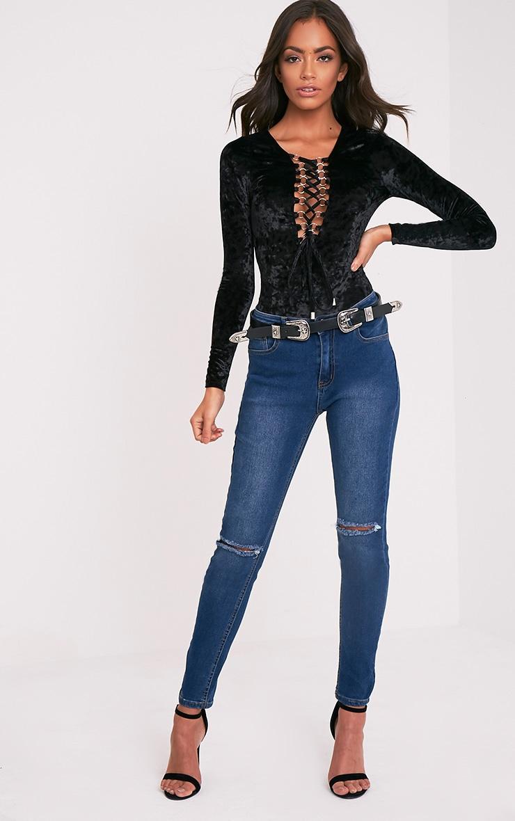 Gabie body noir à manches longues à lacets en velours 6