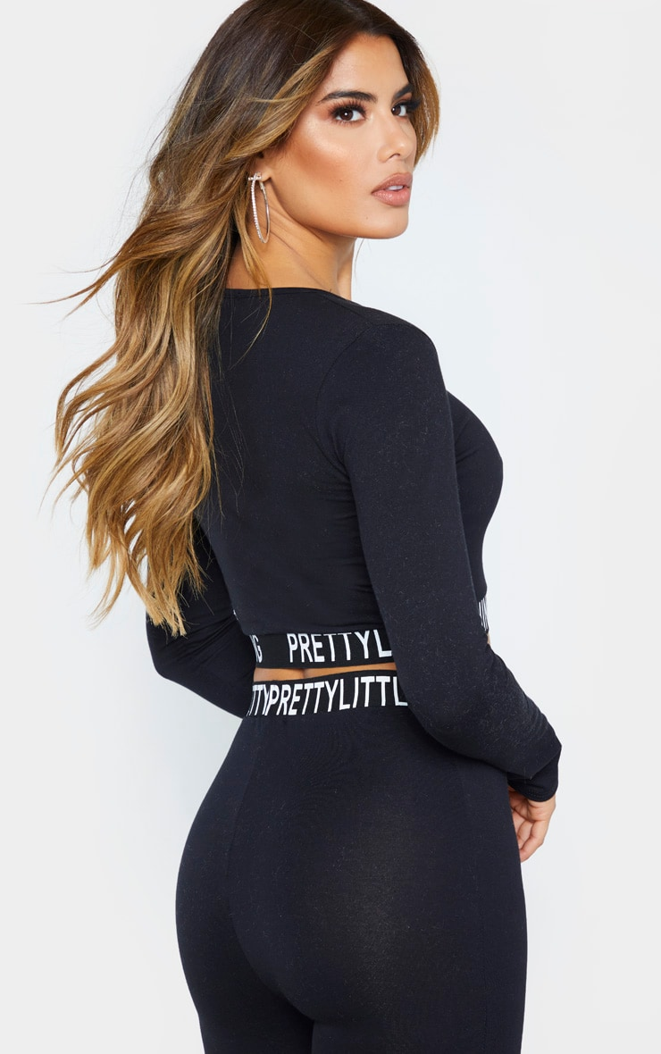 PRETTYLITTLETHING Tall Black Long Sleeve Crop Top 2