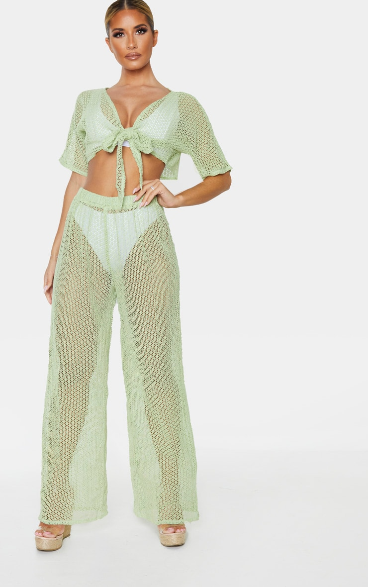 Sage Green Crochet Tie Front Beach Top 4